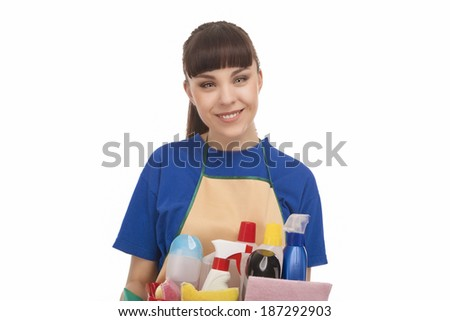 Smiling Caucasian Female Servant With Cleaning Accessories. On White. Horizontal Image - stock photo