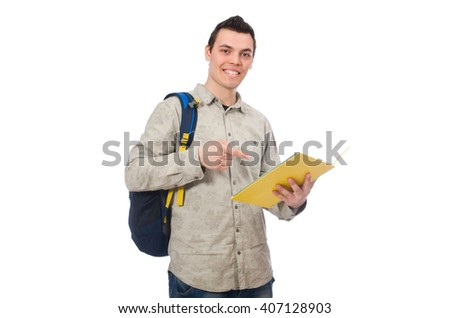 Smiling caucasian student with backpack and books isolated on wh - stock photo