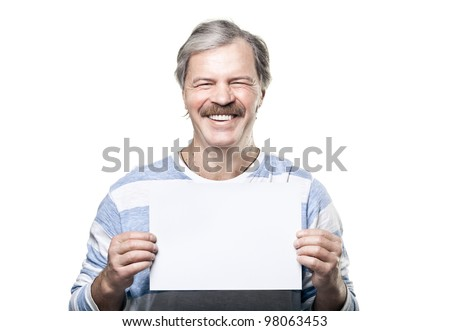 smiling cheerful mature man holding a blank billboard isolated on white background - stock photo