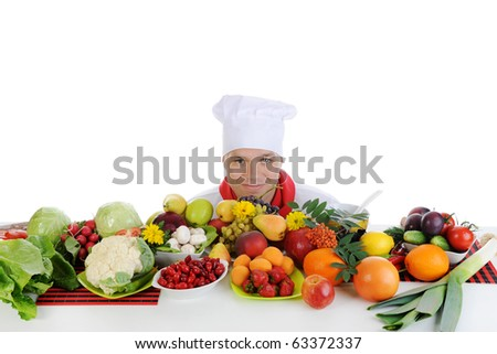smiling chef at restaurant. Isolated on white background - stock photo