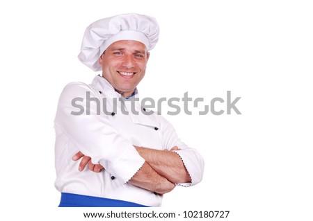 Smiling chef isolated on white background - stock photo