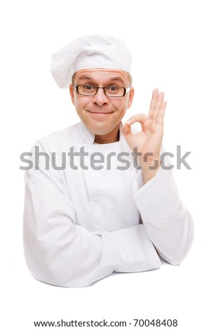 Smiling chef showing ok hand sign isolated on white - stock photo