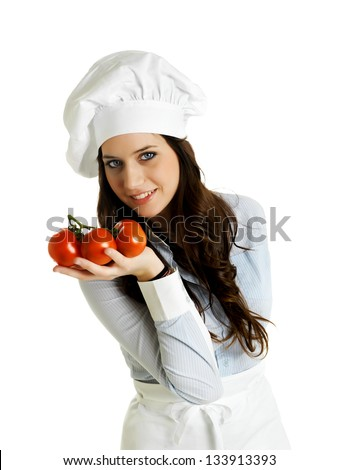 Smiling chef with italian tomatoes - stock photo