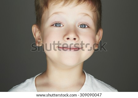 smiling child. funny little boy. joy. 5 years old.kids emotion - stock photo