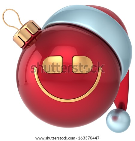Smiling Christmas ball smile Happy New Year bauble Santa hat smiley face icon decoration red. Merry Xmas holiday joyful character toy concept. Wintertime emoticon. 3d render isolated white background - stock photo