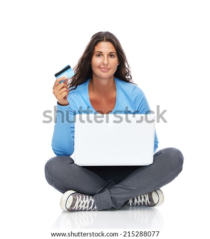 Smiling College Student With Credit Card And Laptop - stock photo
