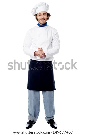 Smiling confident chef isolated over white - stock photo