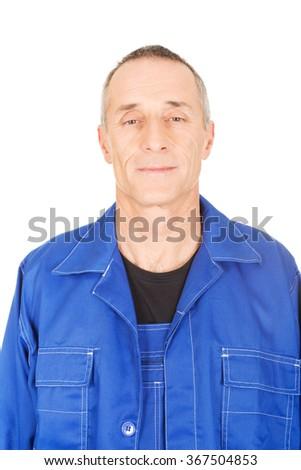 Smiling confident repairman - stock photo