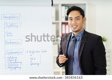 Smiling confident young Asian businessman doing a presentation standing in front of a flip chart with hand written information - stock photo