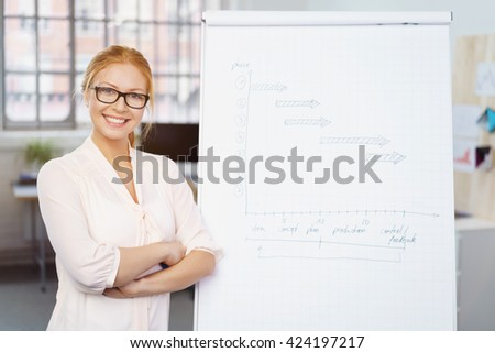 Smiling confident young businesswoman standing with folded arms alongside a flip chart with handwritten notes as she gives a presentation - stock photo