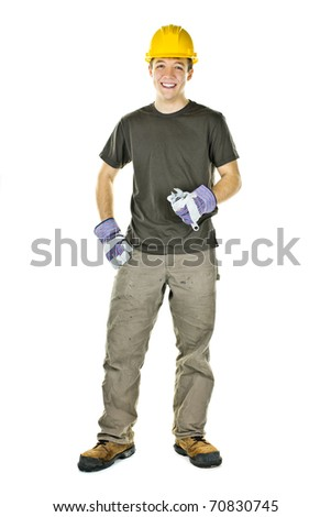 Smiling construction worker holding wrench isolated on white background - stock photo