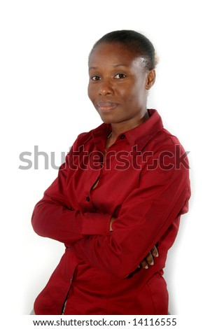 smiling corporate female sitting on a stool - stock photo