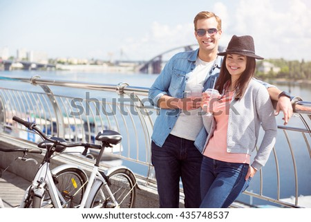 Smiling couple having a rest - stock photo