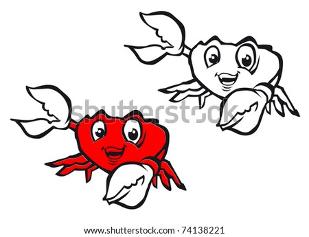 Smiling crab with claws in cartoon style isolated on white - also as emblem. Vector version also available in gallery - stock photo
