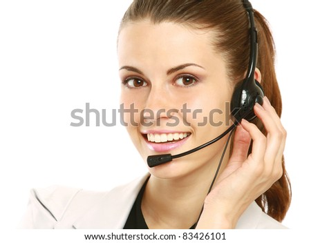 Smiling Customer Representative with headset over white background - stock photo
