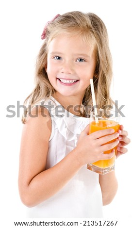 Smiling cute little girl with glass of juice isolated on a white background - stock photo