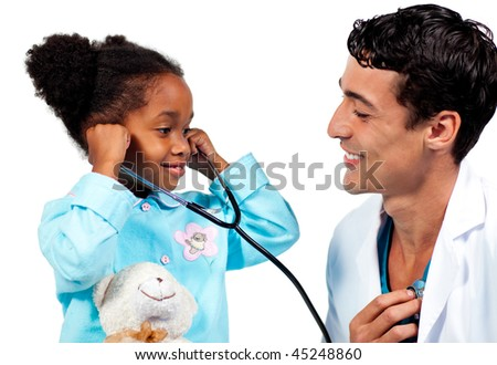 Smiling doctor and his patient playing with a stethoscope against a white background - stock photo