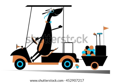 Smiling dog is going to play golf in the golf cart - stock photo