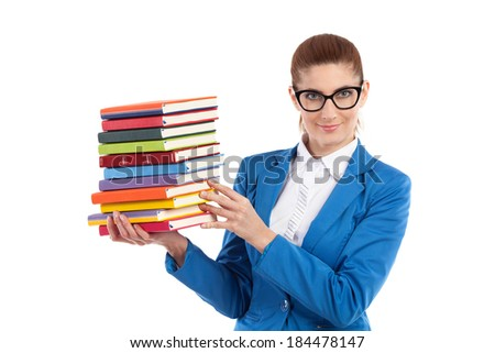 Smiling elegance teacher in black glasses holding stack of books. Waist up studio shot isolated on white. - stock photo