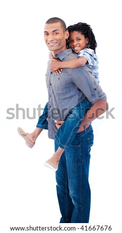 Smiling Ethnic father giving his son piggiback ride against white background - stock photo