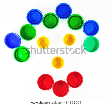 smiling face made of bottle cap - stock photo