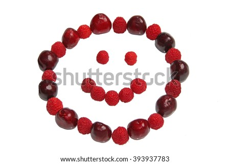smiling face, made of cherry and raspberries, isolated on white - stock photo