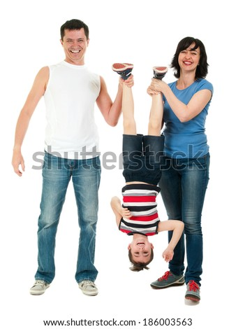 Smiling family having fun full body isolated on white - stock photo