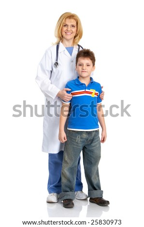 Smiling family medical doctor and a child. Over white background - stock photo