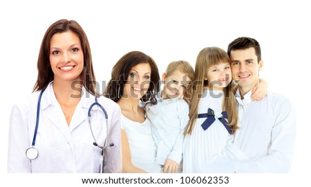 Smiling family medical doctor and young family - stock photo