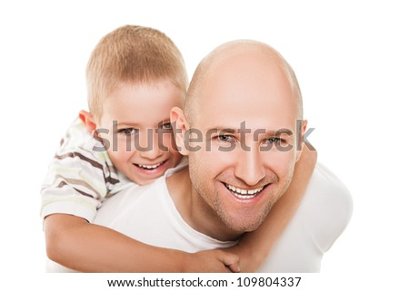 Smiling father and little son - family happiness - stock photo