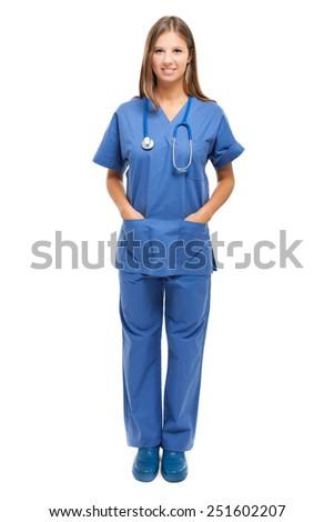 Smiling female nurse isolated on white - stock photo