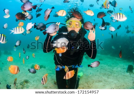Smiling female SCUBA diver surrounded by colorful tropical fish - stock photo