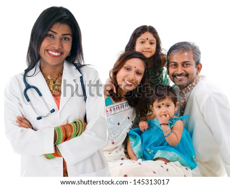 Smiling friendly Indian female medical doctor and patient family. Health care concept. Isolated on white background. - stock photo