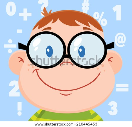 Smiling Geek Boy Head With Background And Numbers. Raster Illustration  - stock photo