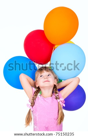 smiling girl holding balloons branch isolated on white - stock photo