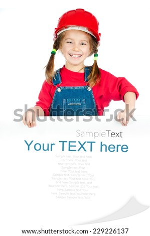smiling girl in the construction helmet and white board with sample text - stock photo