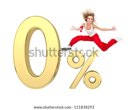 smiling girl jumping above gold 3d zero percent sign against isolated white background - stock photo