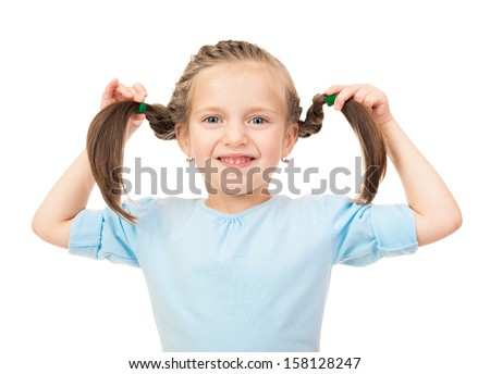 smiling girl show hairstyle - stock photo
