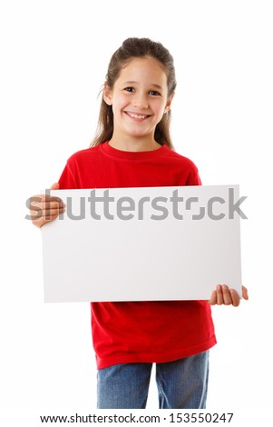 Smiling girl standing with empty horizontal blank in hands, isolated on white - stock photo