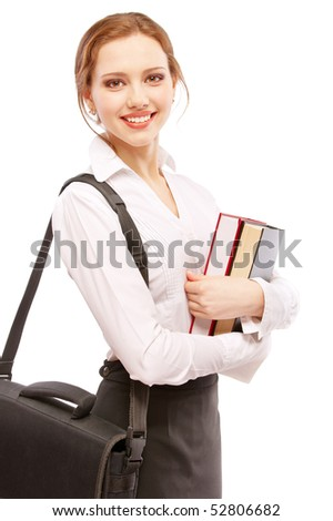 Smiling girl-student with textbooks and portfolio, isolated on white background. - stock photo