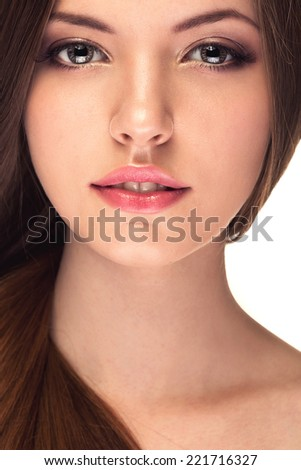 Smiling girl with healthy skin and hair. Studio shooting. Healthcare and skincare. Treatment and spa. Fashion and glamour. Beautiful - stock photo