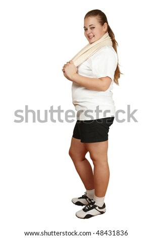 smiling girl with towel - stock photo