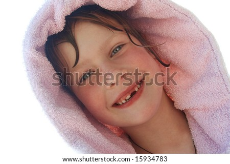 smiling girl without milk-tooth - stock photo