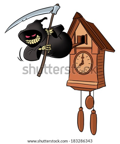 Smiling grim reaper from cuckoo-clock - stock photo