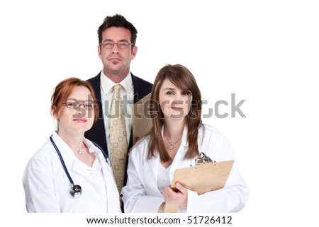 Smiling group of doctors and medical staff, isolated image - stock photo