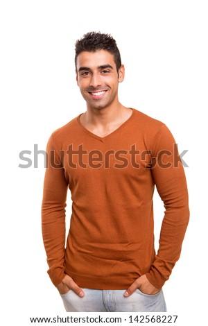 Smiling guy posing - stock photo