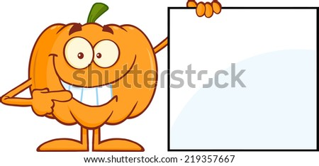 Smiling Halloween Pumpkin Mascot Character Showing A Blank Sign. Raster Illustration - stock photo