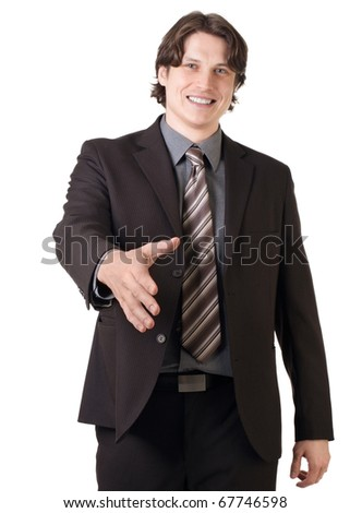 Smiling handsome businessman ready to make a deal, against white background - stock photo