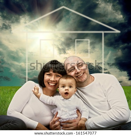 Smiling happiness family outdoor - stock photo