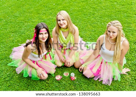 Smiling Happy girl friends in the park. - stock photo